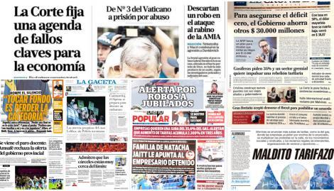 La agenda de fallos clave para la economía que fijó la Corte y la condena a un cardenal en Australia, en las tapas de los diarios argentinos
