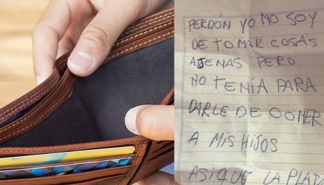 """Encontró una billetera, la devolvió sin la plata y pidió disculpas: """"No tenía para darle de comer a mis hijos"""""""