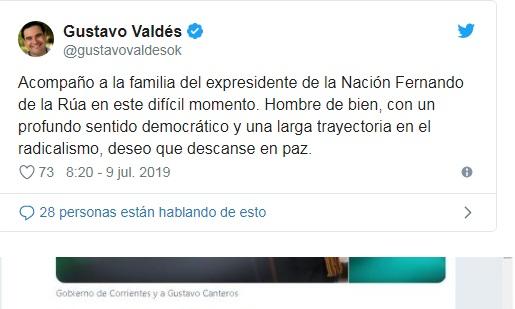Valdés utilizó Twitter para expresar sus condolencias por la muerte de De la Rúa