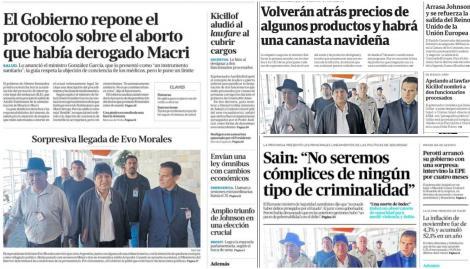 El protocolo de aborto legal y la sorpresiva llegada de Evo Morales, en las tapas de los diarios argentinos