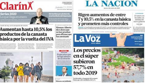 El aumento de la canasta básica por la vuelta del IVA, en las tapas de los diarios argentinos